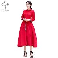 YOSIMI 2017 Autumn Winter High Quality Maxi Elegant Corduroy Vintage Long Women Dress Full Sleeve Ankle