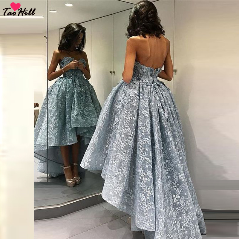 TaoHill Evening Dress Elegant Women 2019 A-line Strapless Sweetheart Neck Flower Short Front And Long Back Blue Lace Prom Dress
