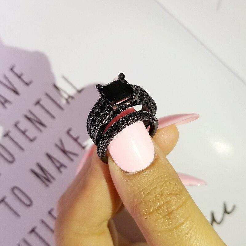 Image 2 - Black blue color titanium Wedding Rings set bridal Classic Engagement Band Ring For Women luxury ghana nigeria Jewelry R4766Wedding Bands   -