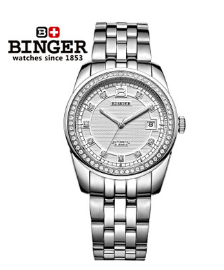 Binger Trendy Women Man Steel Rhinestone Watch Luxury Brand Design CZ Diamond Watches White Big Dial 100M Waterproof Wristwatch