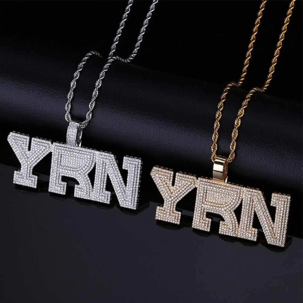 f5bbf3f148ef6 TOPGRILLZ Iced Out Bling YRN Letters Pendant Necklace With Tennis ...