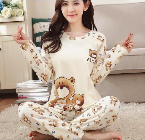 Neues Angebot Foply 2018 Frühling Pyjamas Frauen Karton Niedlich Pijama Muster Pyjama Set Dünne Pijamas Mujer Nachtwäsche Großhandel