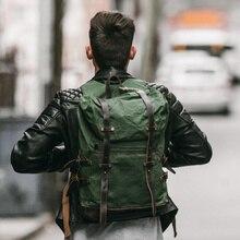 MUCHUAN, 15,6 дюймов, рюкзак для ноутбука, винтажный, большая емкость, масло, воск, водонепроницаемый, рюкзаки для подростков, холст, кожа, на шнурке, рюкзаки