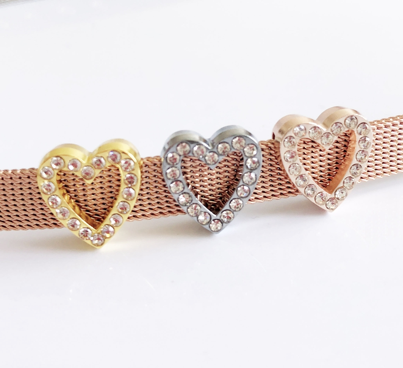 50pcs 8MM Full Rhinestone Hollow Heart Slide Charms Fit 8mm Pet <font><b>Dog</b></font> Collar Name Belts <font><b>Bracelets</b></font> image