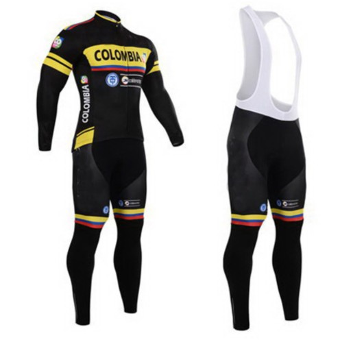 Colombia Team Long Sleeve Cycling Wear Spring/Autumn Quick Dry Ropa Cycling Jersey Bike Riding Clothing Set with 16D Gel Pa
