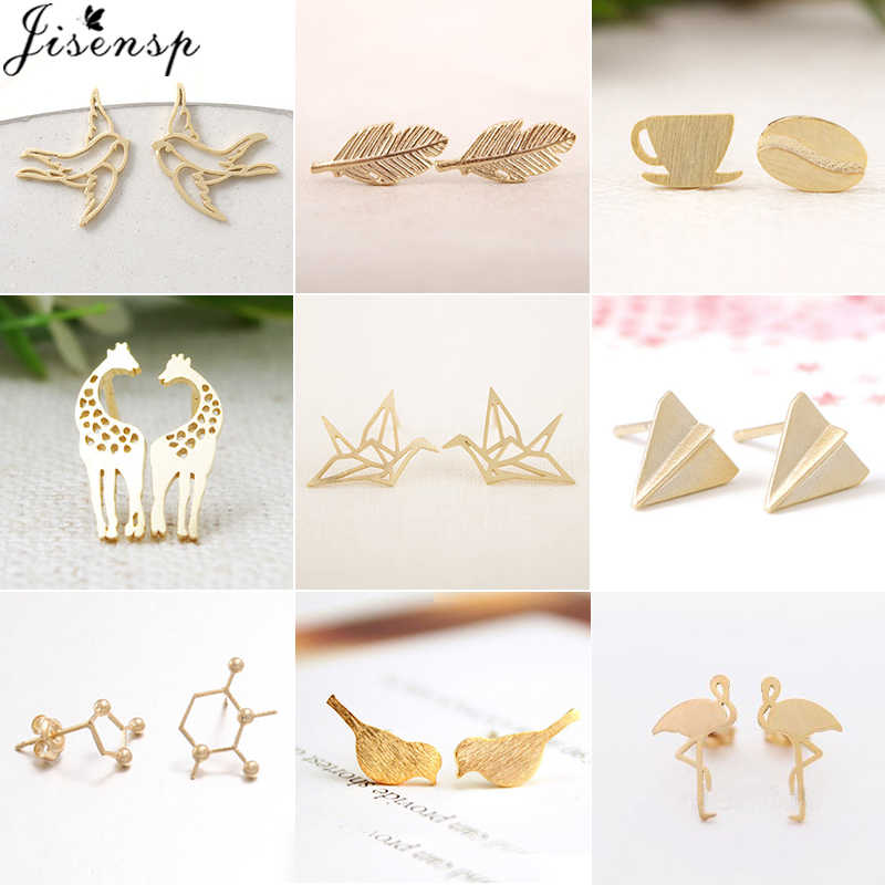 Jisensp Lovely Animal Stud Earrings Women Kids Jewelry Cute Leaf Ear Earing Fashion Bird Earings Piercing Pendientes Party Gifts