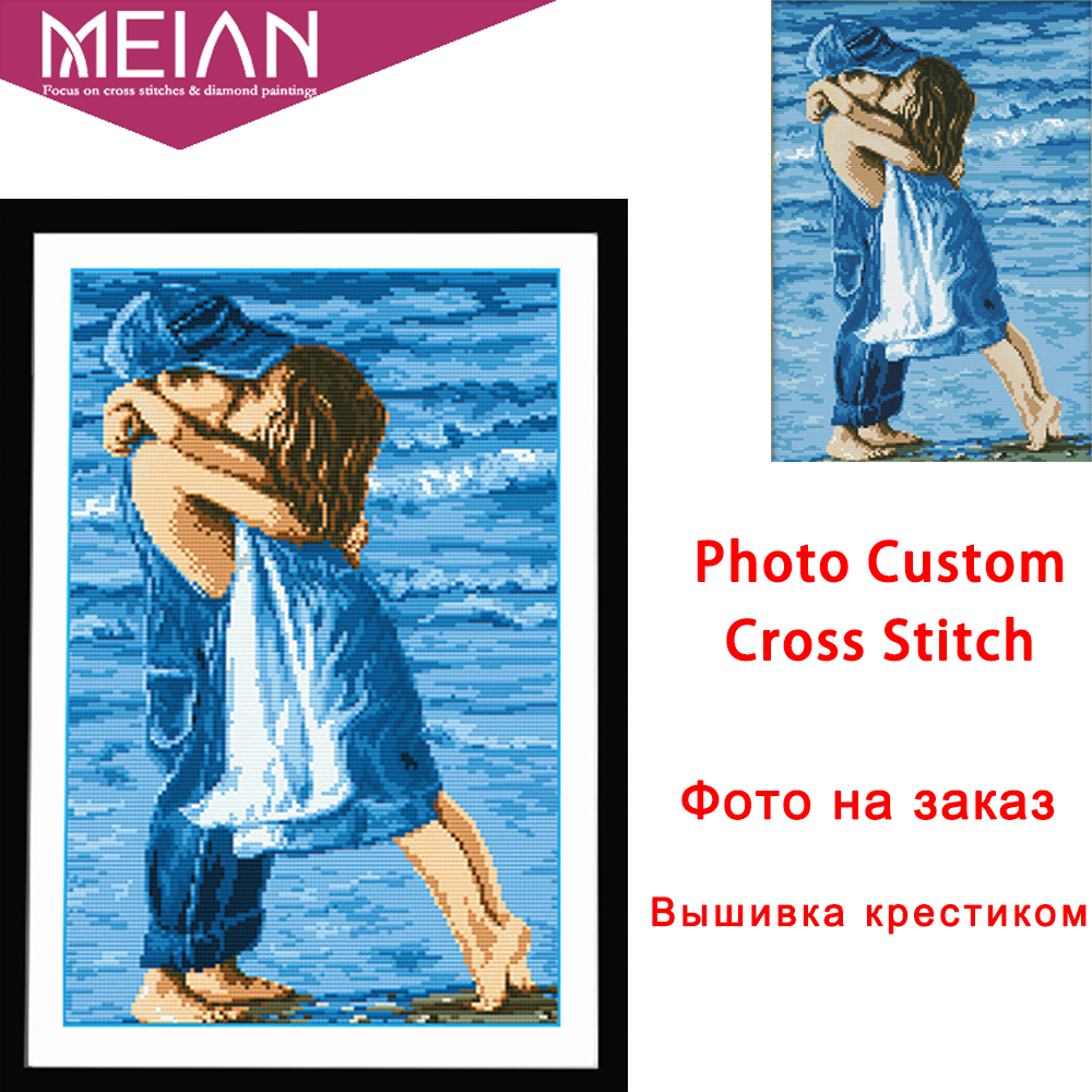 Meian Photo Custom Cross Stitch Embroidery Kits 11CT Cotton Thread Painting DIY Needlework DMC Set Counted Printed On Canvas