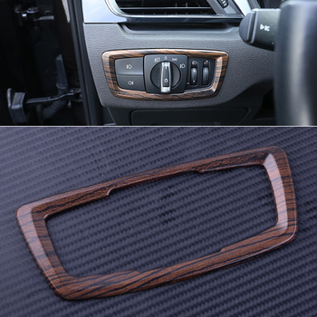 1Pc ABS Wooden Pattern Interior Headlight Switch Button Cover Trim Frame fit for BMW X1 F48 2016 2017 2018 2019 image
