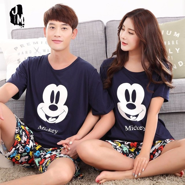 Summer Men Pyjamas Short Sleeve 100% Cotton Casual Couple Animal Pajama Set Sleepwear Suit Big Size 5XL Homewear Lingerie Pyjama
