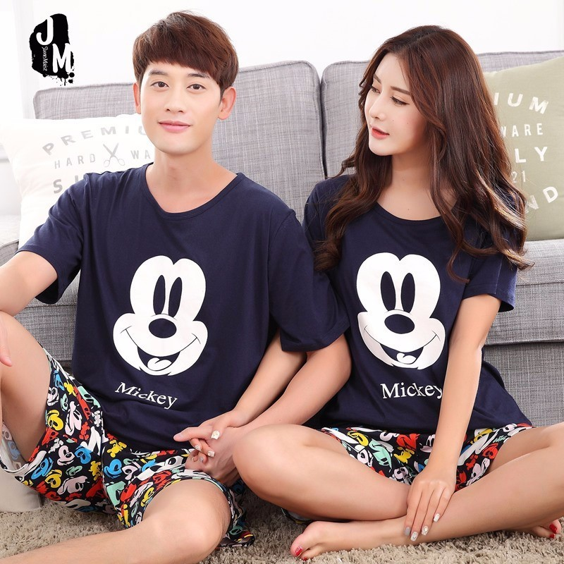 Summer Men Pyjamas Short Sleeve 100% Cotton Casual Couple Animal   Pajama     Set   Sleepwear Suit Big Size 5XL Homewear Lingerie Pyjama