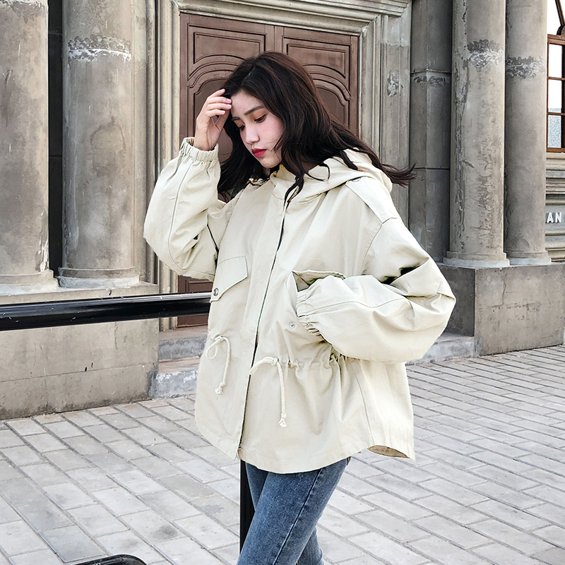 FTLZZ New Loose Trench Coat Spring Autumn Women's Hooded Black Green Windbreaker Outerwear Female Casual Trench Coat 2