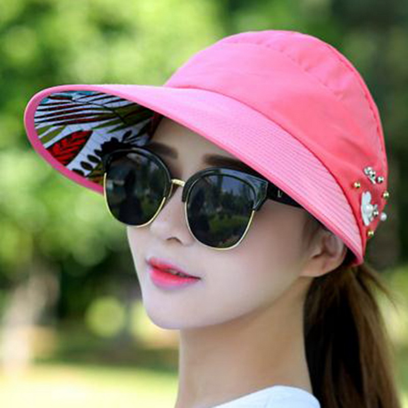 2ee1e527 Pearl Packable Sun Visor Hat Summer Women Beach Sun Hats With Big Heads  Wide Brim UV Protection Female Cap