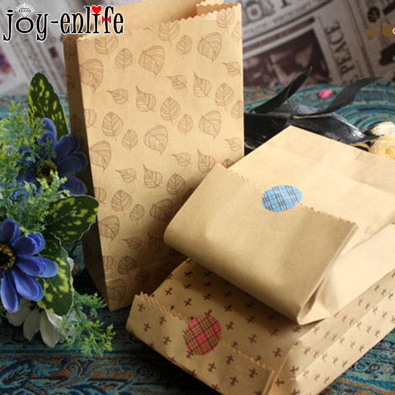 JOY-ENLIFE 10pcs/lot Paper bag Wedding Candy Packaging Recyclable Jewelry Food Bread Shopping Party Bags For Boutique decoration