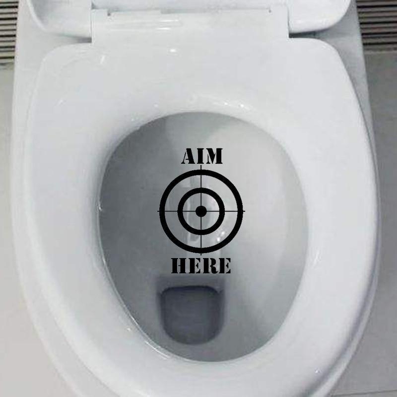 Funny Toilet Peek Sign Sticker: Funny Fashion Toilet Stickers Aim Here Creative Vinyl
