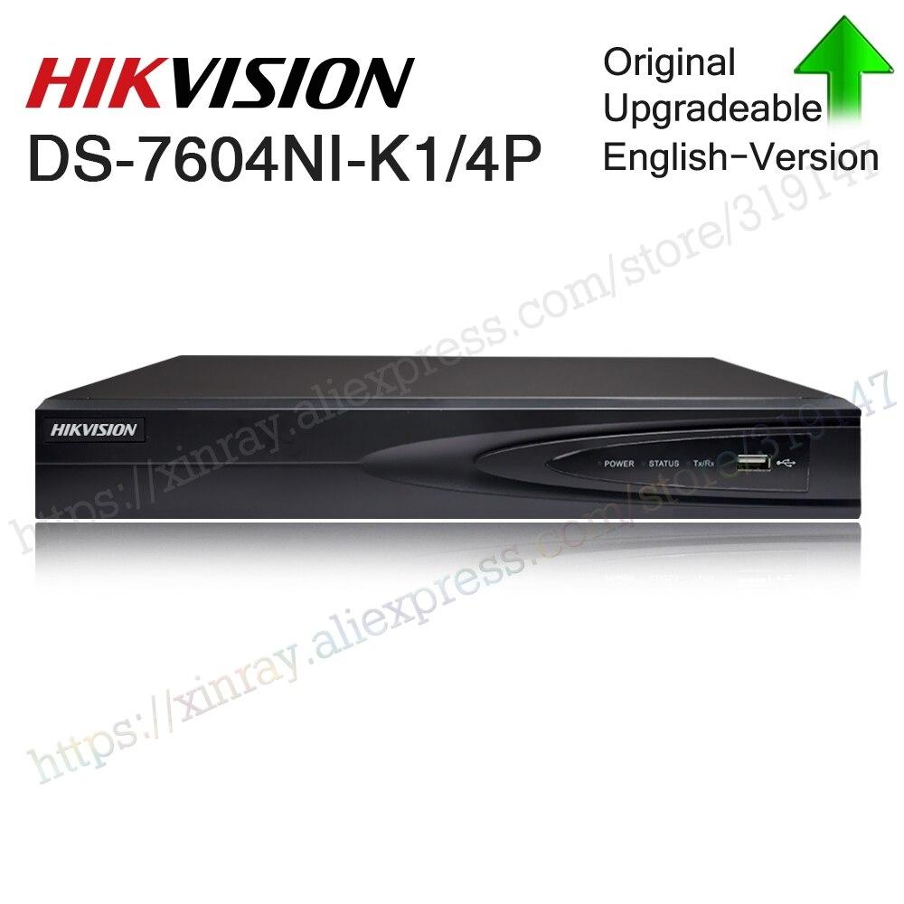 Hikvision oryginalna DS-7604NI-K1/4 P 4CH POE wbudowany podłącz zagraj 4 K PoE NVR do kamery IP system CCTV możliwość aktualizacji dysk twardy do wyboru