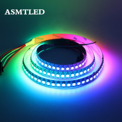 DC5V WS2812B 30/60/144 leds/m Smartled pixel RGB individually addressable led strip light Black/White PCB IC WS2812 pixel strips