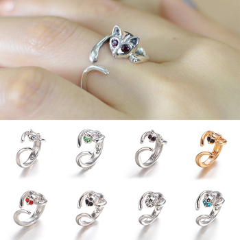 2018 new Cute 1PC Jewelry Silver Likesome Resizable Casual Opening Glisten Set Drill Plated Ring Fashion with Rhinetone Eyes image