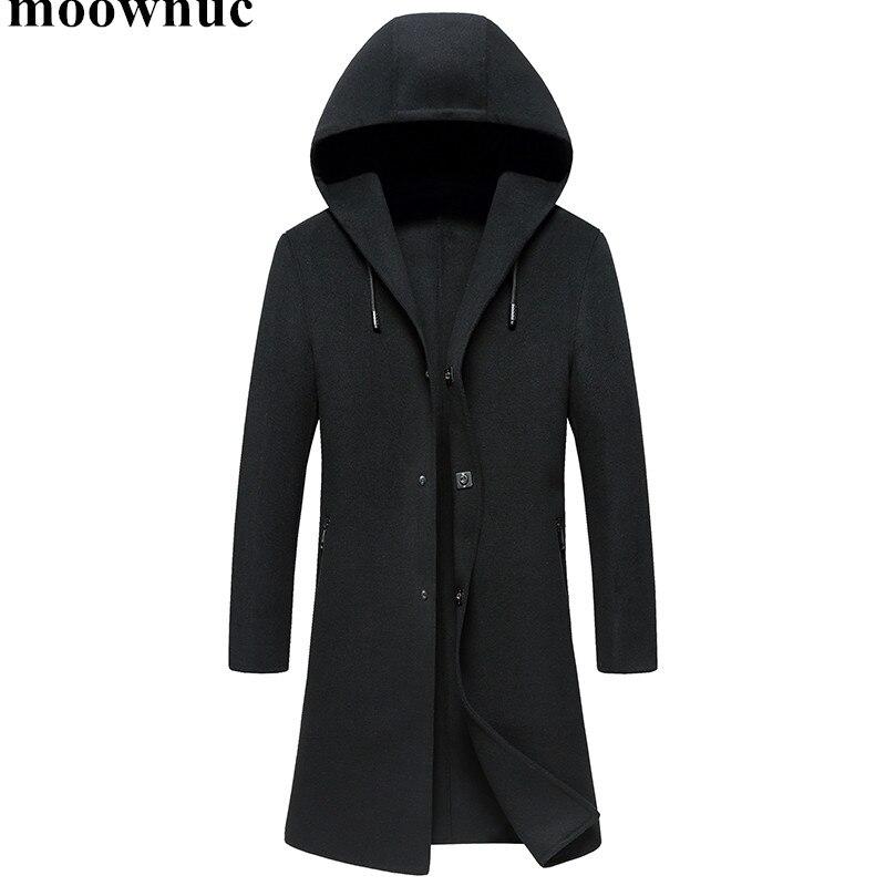 2018 Новый осень зима Для мужчин шерстяные пальто черное с капюшоном пальто Для мужчин s двусторонний ветровки Для мужчин M XXXL шерсть верхняя о