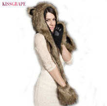 c69026aeea1 2017 Women Men Faux Fur Animal Hats Long Scarf Warm Headwear Paws Print Hats  Party Cap