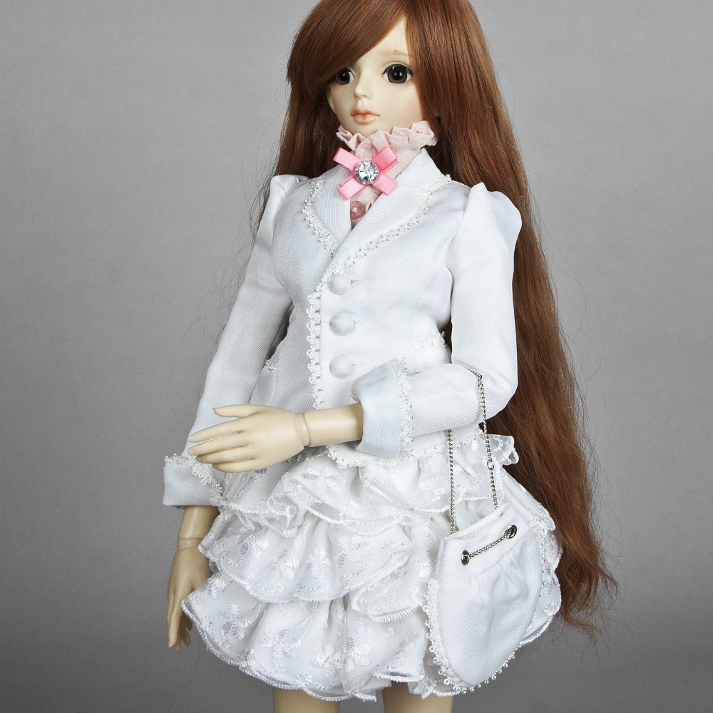[wamami] 386# White Clothes/Dress 1/4 MSD DOD AOD Luts BJD Dollfie handsome grey woolen coat belt for bjd 1 3 sd10 sd13 sd17 uncle ssdf sd luts dod dz as doll clothes cmb107