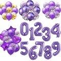 40-дюймовые фиолетовые воздушные шары из фольги в виде цифр, латексные вечерние декоративный шар с днем рождения для взрослых/детей/Свадебны...