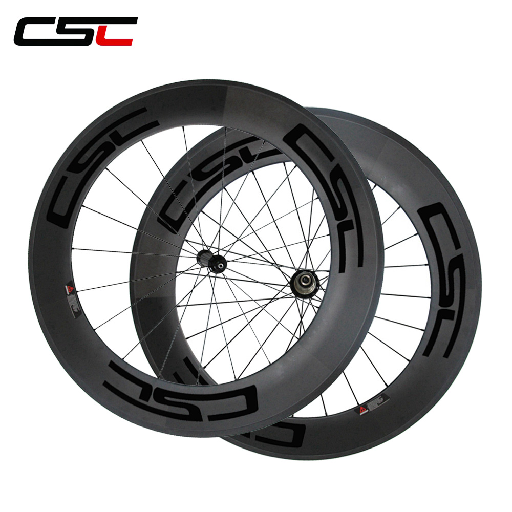 все цены на CSC road wheelset 88mm carbon clincher wheels 23mm width Powerway R36 hub aero spoke онлайн
