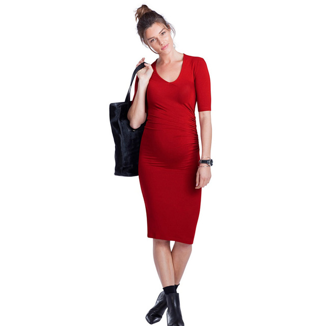 95% Tencel Elastic Knee-Length Loose Dresses Elegant Short Sleeve Maternity Dress Office Lady Vestidos for Pregnancy Promotion