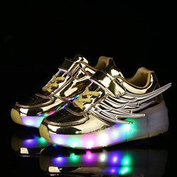 New Children Glowing with Wheels Shoes Kids Glowing Led light up Shoes Girls Boys Shoes chaussur sneakers rollers skate