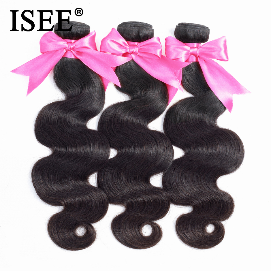 ISEE HAIR 3 Bundles Brazilian Body Wave Hair Extension Remy - Menneskehår (sort)