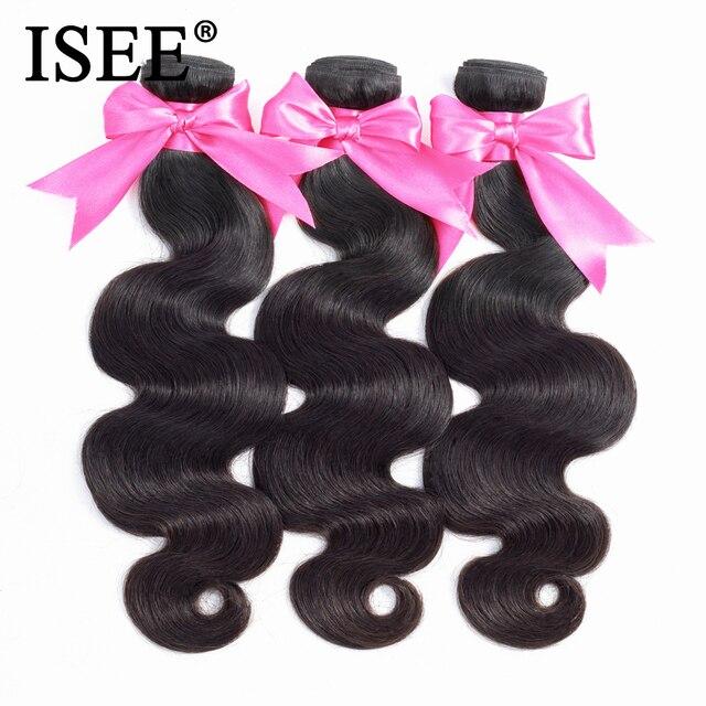 ISEE wiązki włosów 3 brazylijski włosy typu body wave Remy przedłużanie ludzkich włosów natura kolor darmowa wysyłka brazylijski włosy wyplata wiązki
