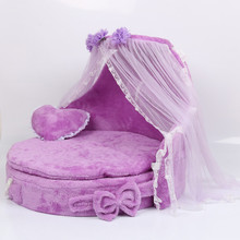 Free shipping Mewmew Luxury Dog Kennels Princess Bed Lovely Cool Pet Cat Beds Sofa Teddy House Suede Fabric lace pet bed