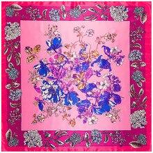Estilo étnico Flores Lenço Quadrado Lenços de Seda Sentimento 90 cm Jogo Acessório Do Vestuário Da mulher Da Menina Adicionar Presente Roupas 90FJ19