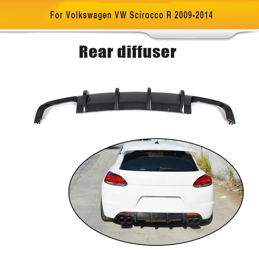 Carbon fiber car rear lip Spoiler diffuser For Volkswagen VW Scirocco R R20 Bumper 2009 2014 Two Style