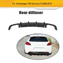 For Scirocco Carbon fiber car rear diffuser VW R R20 Bumper lip 2009 - 2014
