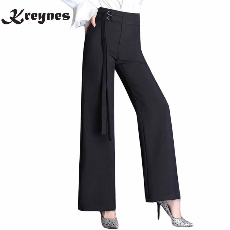New Arrival Autumn Women Suits Pants Black High Waist OL Pants Female Loose Long Wide Leg Trousers pantalones mujer