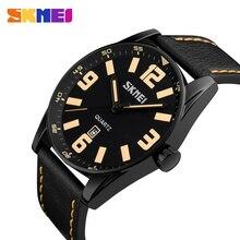 SKMEI Men Quartz Watches IP Black Plating Large Dial Leather Fashion Wristwatch 30M Waterproof Casual Mens Watch Relogio 9137 стоимость