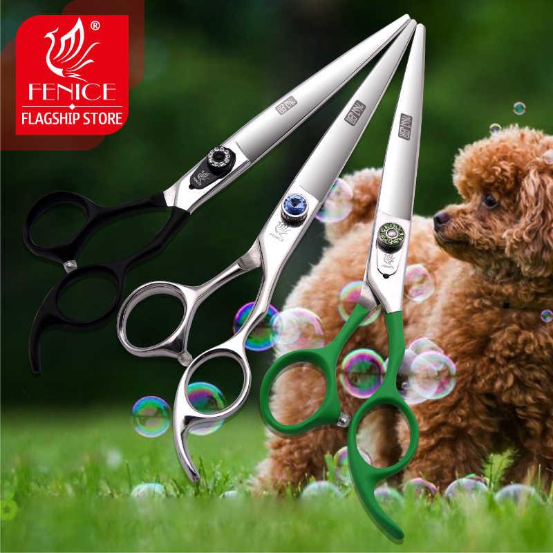 Fenice 7.5/8.0/9.0/9.5/10 cal wysokiej jakości kolorowy uchwyt profesjonalna pielęgnacja zwierząt domowych pies nożyce do cięcia nożyce proste