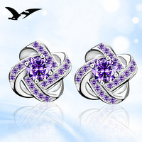 925 Silver Stud Earrings Korean Fashion Silver Jewelry High Grade Fine Women S Zircon Earrings Earrings