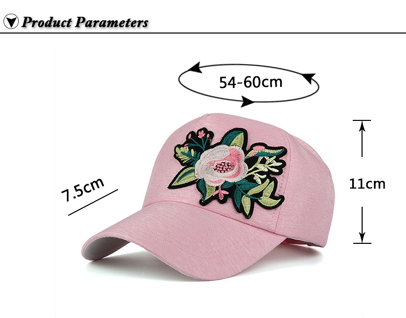 Embroidered Flower Snapback Cap - Product Parameters