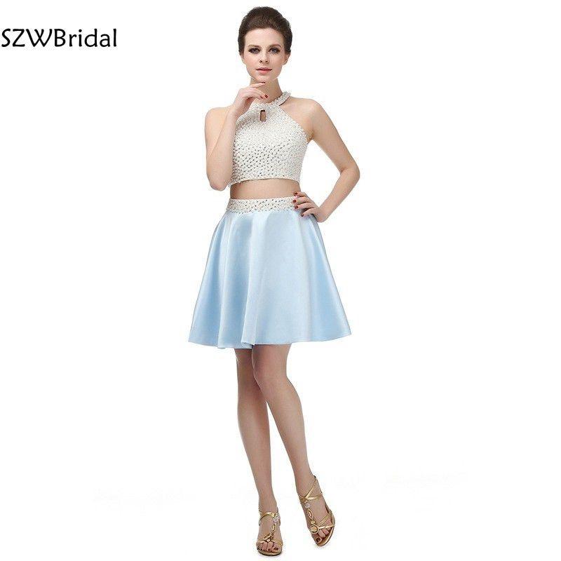 Vestido de festa In stock Two piece   Prom     dresses   Knee length Plus size short   prom     dress   2019 Vestido de festa curto