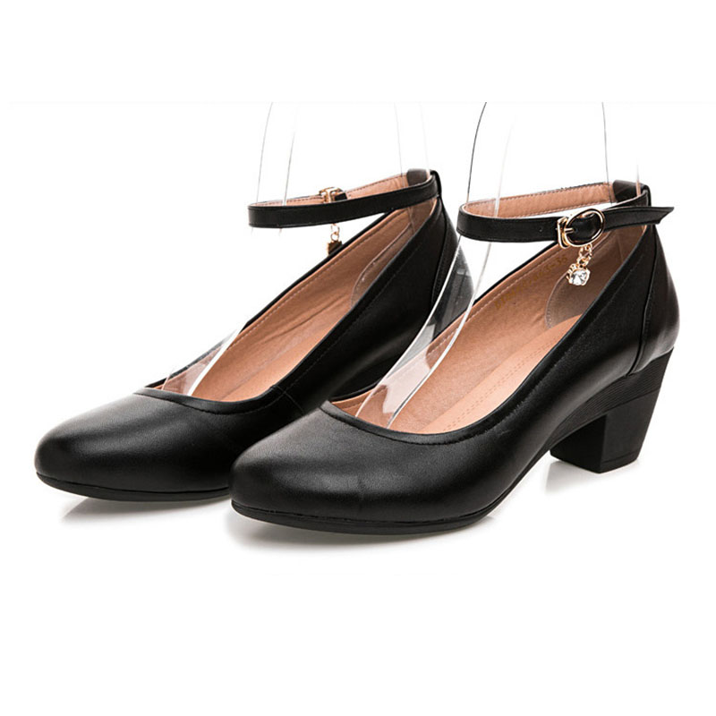 2019 New Black Genuine Leather Work Shoes Women Pumps Thick Heels Shoes Ankle Strap Lattice Women 39 s Stiletto Buckle Shoes in Women 39 s Pumps from Shoes