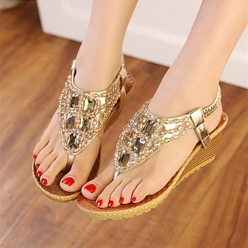Fashion Casual Style Women Sandals Comfort Wedge Female Beach Sandals Footwear Ladies Flip Flop Women Summer Shoes CLD960 new casual women sandals shoes summer fashion slip on female sandals bohemian wild ladies flat shoes beach women footwear bt537