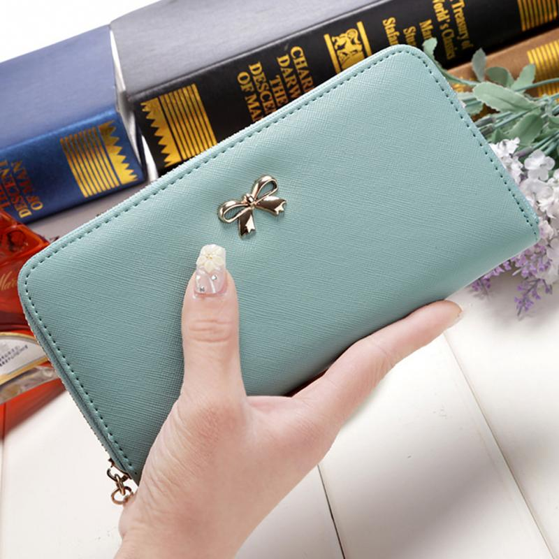 Women's Wallet Purse PU Long Zipper Wallet Girls Ladies Cute Bowknot Coin Purse Card Holder Clutch Bag Phone Pouch Top Quality