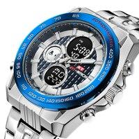 Новые Топ люксовый бренд водонепроницаемые мужские часы полностью Стальные кварцевые аналоговые цифровые светодиодные милитари спортивн