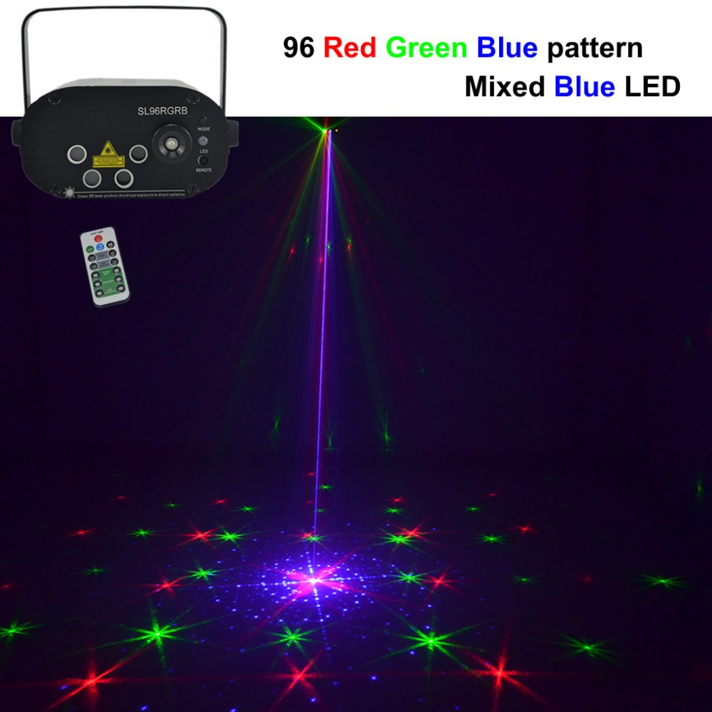 Mini 96 Red Green Blue Gobos Laser Projector Lights 3W Blue LED Adjust Speed Remote DJ Show Party Wedding Stage Lighting NL96RGB