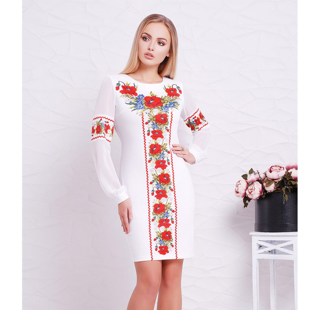 2018 New Designer Women Dress O Neck Flower Casual Straight Full Sleeve Female Dresses Sexy Big Size 6XL  Ukrainian Vestidos 3
