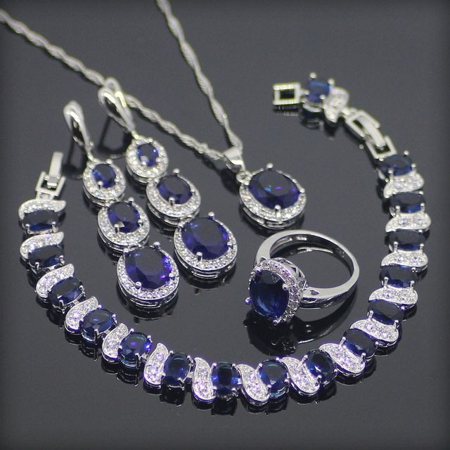 Blue White Created Topaz 925 Sterling Silver Jewelry Sets For Women Earrings/Rings/Pendant/Necklace/Bracelets Free Gift Box