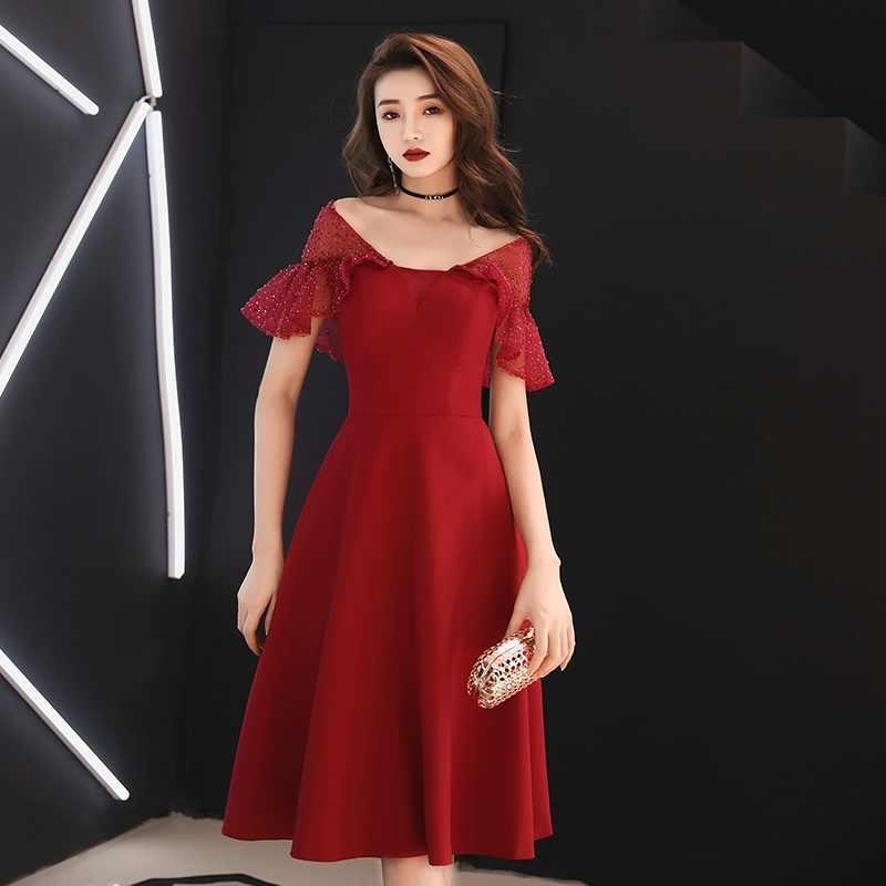 Boda invitado Vestido de banquete Vestido corto Vestido de fiesta vestidos de quinceañera traje rojo negro Casual Birdesmaid vestidos TS1013
