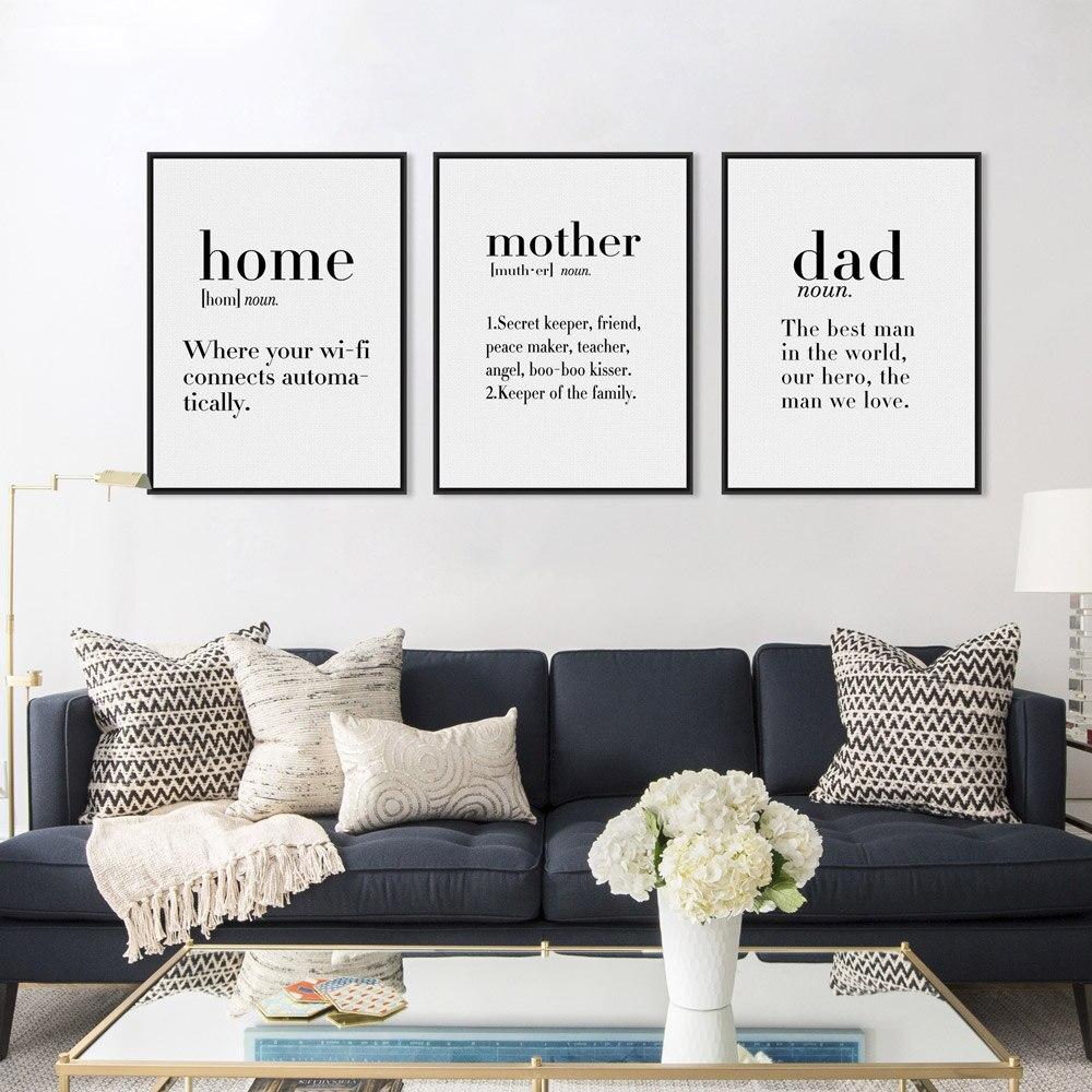 Nordic Black White Modern Mother Dad Quotes Konsttryck Poster Love - Heminredning