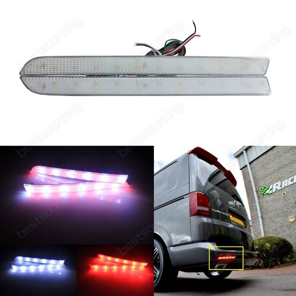 For VW T5 LED Rear Bumper Reflector Turn Signal Light Clear Lens Caravelle Multivan (Fits: VW 2012) (CA332)